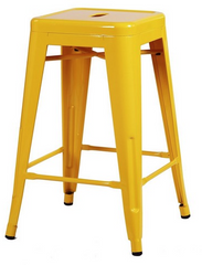 Tolix Style Backless Yellow Glossy Metal Indoor-Outdoor Counter Stool - YourBarStoolStore + Chairs, Tables and Outdoor