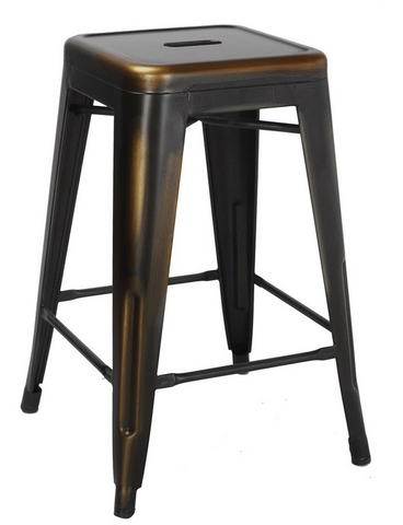 Tolix Style Backless Antique Copper Metal Indoor-Outdoor Counter Stool