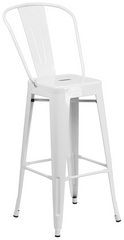 Tolix Style High-Back White Metal Indoor-Outdoor BarStool - YourBarStoolStore + Chairs, Tables and Outdoor