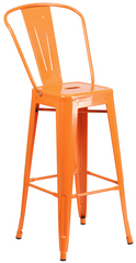 Tolix Style High-Back Orange Metal Indoor-Outdoor BarStool - YourBarStoolStore + Chairs, Tables and Outdoor