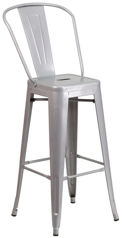 Tolix Style High-Back Silver Metal Indoor-Outdoor BarStool