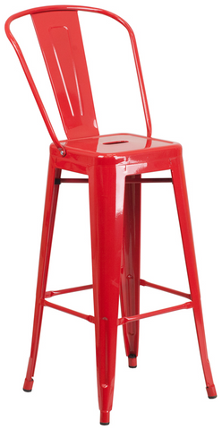 Tolix Style High-Back Red Metal Indoor-Outdoor BarStool