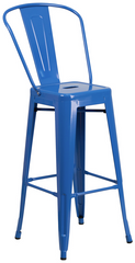 Tolix Style High-Back Blue Metal Indoor-Outdoor BarStool - YourBarStoolStore + Chairs, Tables and Outdoor