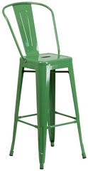 Tolix Style High-Back Green Metal Indoor-Outdoor BarStool - YourBarStoolStore + Chairs, Tables and Outdoor