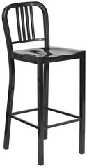 Classic Bar Stool Black Metal Indoor-Outdoor - YourBarStoolStore + Chairs, Tables and Outdoor