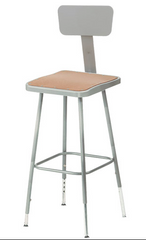 "19-27"" Grey Frame ADJ. Height Stool Square Hardboard Seat with ADJ. Backrest 6318HB - YourBarStoolStore + Chairs, Tables and Outdoor"