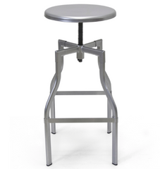 Hugo Adjustable Stool - Silver - YourBarStoolStore + Chairs, Tables and Outdoor