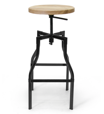 Hugo Adjustable Stool - Black Frame Wood Seat