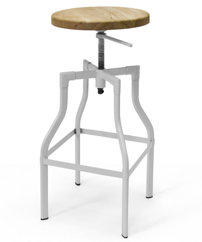 Hugo Adjustable Stool - White Frame Wood Seat