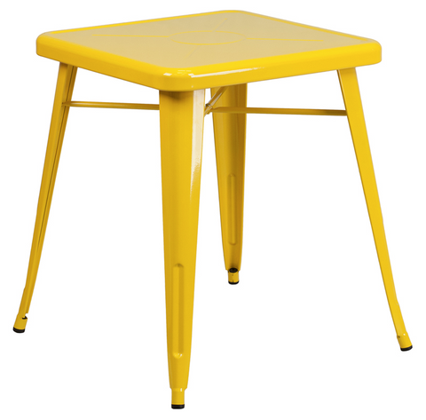 Tolix Style 24'' Square Yellow Metal Indoor-Outdoor Table