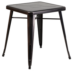 Tolix Style 24'' Square Black Metal Indoor-Outdoor Table - YourBarStoolStore + Chairs, Tables and Outdoor