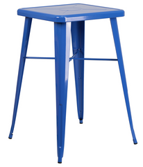 Square Blue Metal Indoor-Outdoor Bar Height Table - YourBarStoolStore + Chairs, Tables and Outdoor