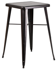 Square Black Antique Gold Metal Indoor-Outdoor Bar Height Table - YourBarStoolStore + Chairs, Tables and Outdoor
