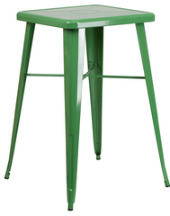 Square Green Metal Indoor-Outdoor Bar Height Table - YourBarStoolStore + Chairs, Tables and Outdoor