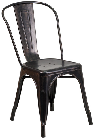 Tolix Style Black Antique Gold Metal Indoor-Outdoor Chair