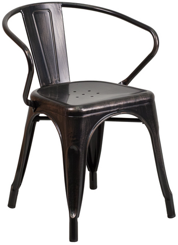 Tolix Style Black Antique Gold Metal Indoor-Outdoor Chair with Arms