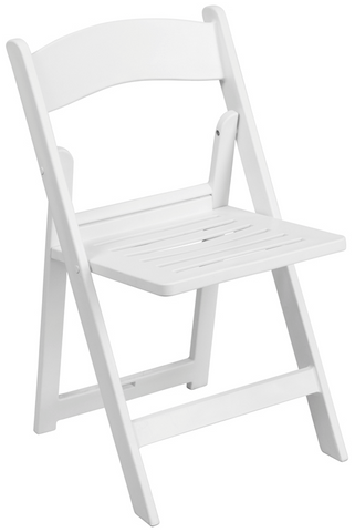 White Resin Folding Chair with Slatted Seat - 1,000lbs capacity