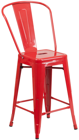 Tolix Style High-Back Red Metal Indoor-Outdoor Counter Stool