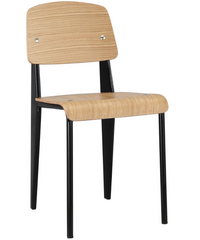 Prouve Style Side Chair - Natural and Black - YourBarStoolStore + Chairs, Tables and Outdoor