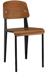 Prouve Style Side Chair - Walnut and Black - YourBarStoolStore + Chairs, Tables and Outdoor  - 3