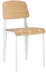 Prouve Style Side Chair - Natural and White - YourBarStoolStore + Chairs, Tables and Outdoor  - 1