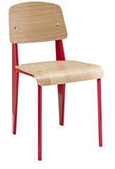 Prouve Style Side Chair - Natural and Red - YourBarStoolStore + Chairs, Tables and Outdoor  - 1
