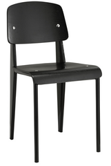 Prouve Style Side Chair - Black and Black - YourBarStoolStore + Chairs, Tables and Outdoor  - 1