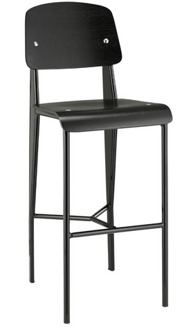 Prouve Style Bar Stool - Black and Black