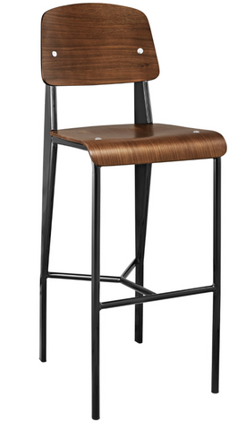 Prouve Style Bar Stool - Walnut and Black