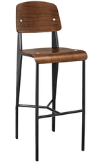 Prouve Style Bar Stool - Walnut and Black - YourBarStoolStore + Chairs, Tables and Outdoor  - 1