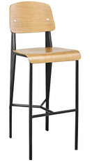 Prouve Style Bar Stool - Natural and Black - YourBarStoolStore + Chairs, Tables and Outdoor  - 1