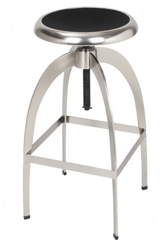 Industrial Brushed Steel Adjustable Logan Bar Stool