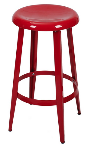 Red Metal Industrial Counter Stools