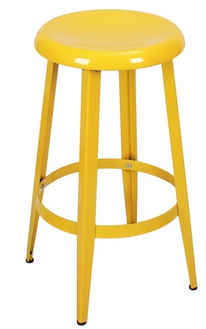 Yellow Metal Industrial Counter Stools
