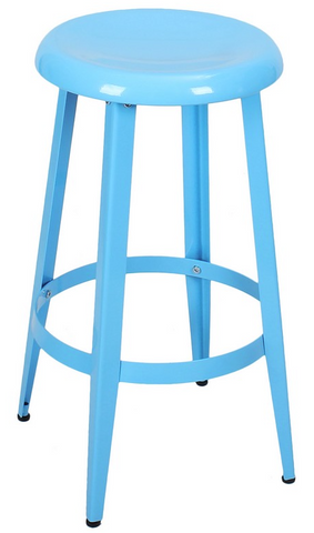 Blue Metal Industrial Counter Stools