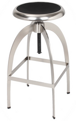 Adjustable Industrial Brushed Stainless Steel Stools - YourBarStoolStore + Chairs, Tables and Outdoor  - 1