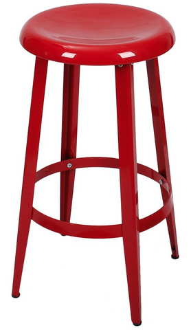 Red 26-inch Metal Counter Stools