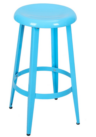 Blue 26-inch Metal Counter Stools