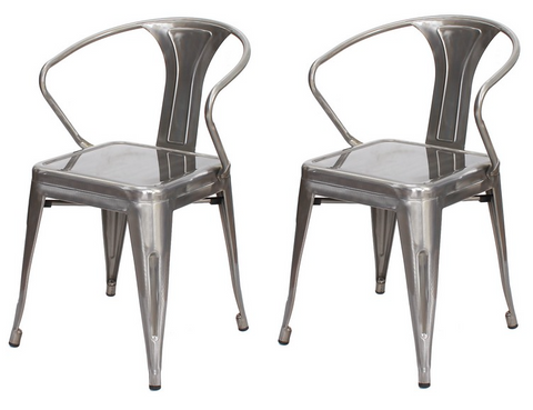 Shiny Steel Industrial toil style Metal Stacking Dining Chairs (Set of 2)