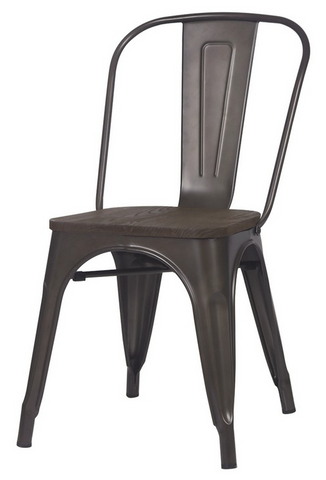 Tolix Style Bronze Metal Stackable Industrial Dining Chair w/ Wood Seat Set of Two