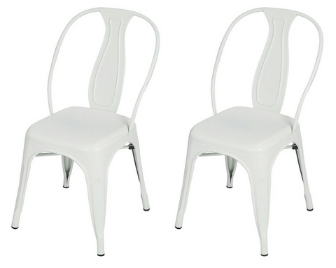 White Tolix Style Metal Stacking Dining Chairs (Set of 2)