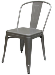 XL Industrial Tolix Style Silver Chair - YourBarStoolStore + Chairs, Tables and Outdoor