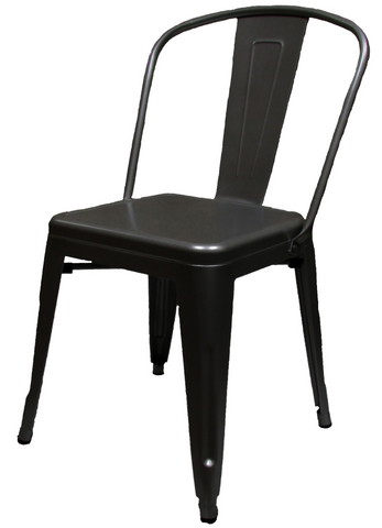 XL Industrial Tolix Style Matte Black Chair