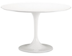 "White Round 42"" Lily - Tulip Fiberglass Table - YourBarStoolStore + Chairs, Tables and Outdoor  - 1"