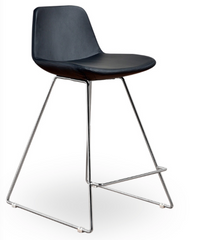 Chrome sled counter height stool black leatherette and orange wool - YourBarStoolStore + Chairs, Tables and Outdoor