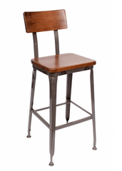 Octane Industrial Metal Bar Stool Wood Seat - YourBarStoolStore + Chairs, Tables and Outdoor