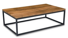 Mountain Teak And Metal Rustic Coffee Table - YourBarStoolStore + Chairs, Tables and Outdoor