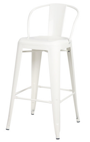 White Metal Barstool With Back (Set of 2)