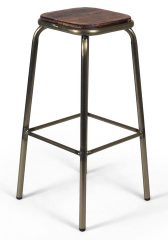 Industrial Minimalist Metal and Wood Counter Stool (Set of 2)