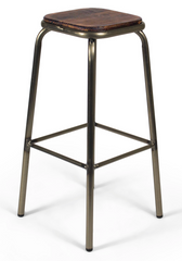 Industrial Minimalist Metal and Wood Bar Stool (Set of 2) - YourBarStoolStore + Chairs, Tables and Outdoor